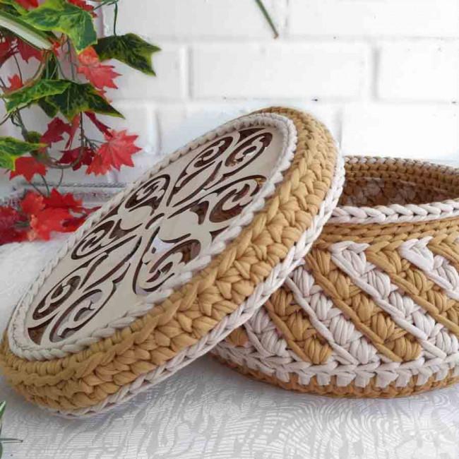 Заготовки круглые ажурные тонированные для сумок, шкатулок и корзин из дерева